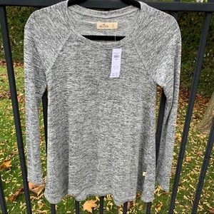NWT Hollister Grey Soft Marled Long Sleeved Top